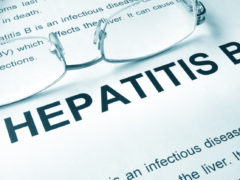 Hepatitis B written on a page. Medical concept.